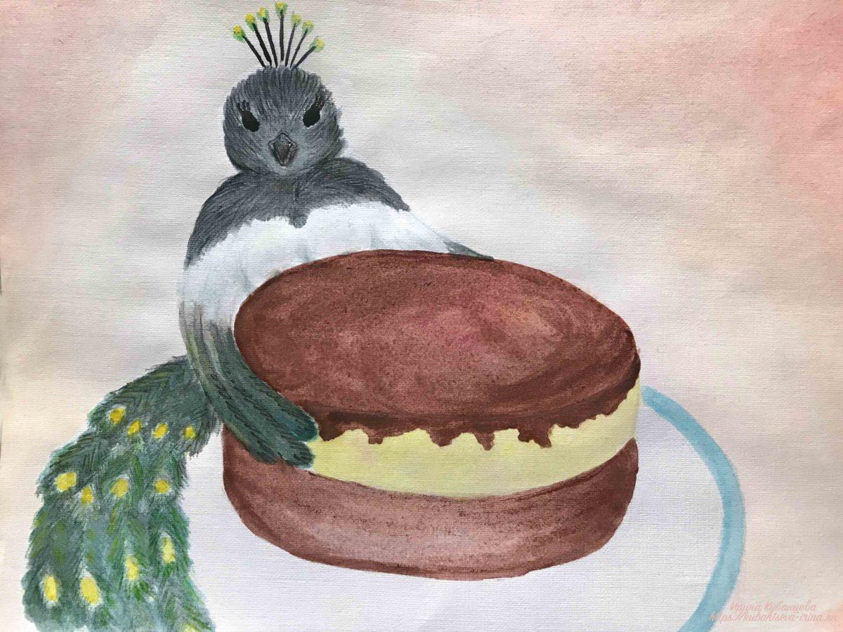 """Торт """"Птичье молоко"""" рисунок"""