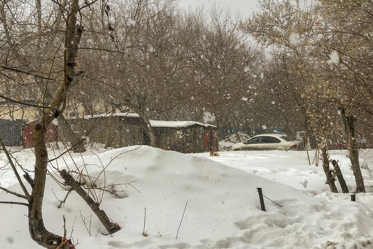 Снегопад весной фото