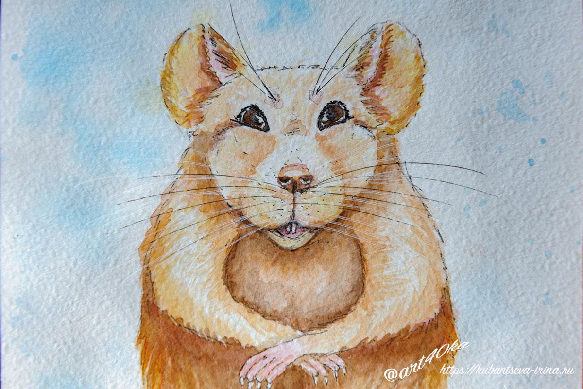 крыса акварелью