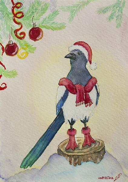 Новогодние открытки ручной работы с птицами акварелью