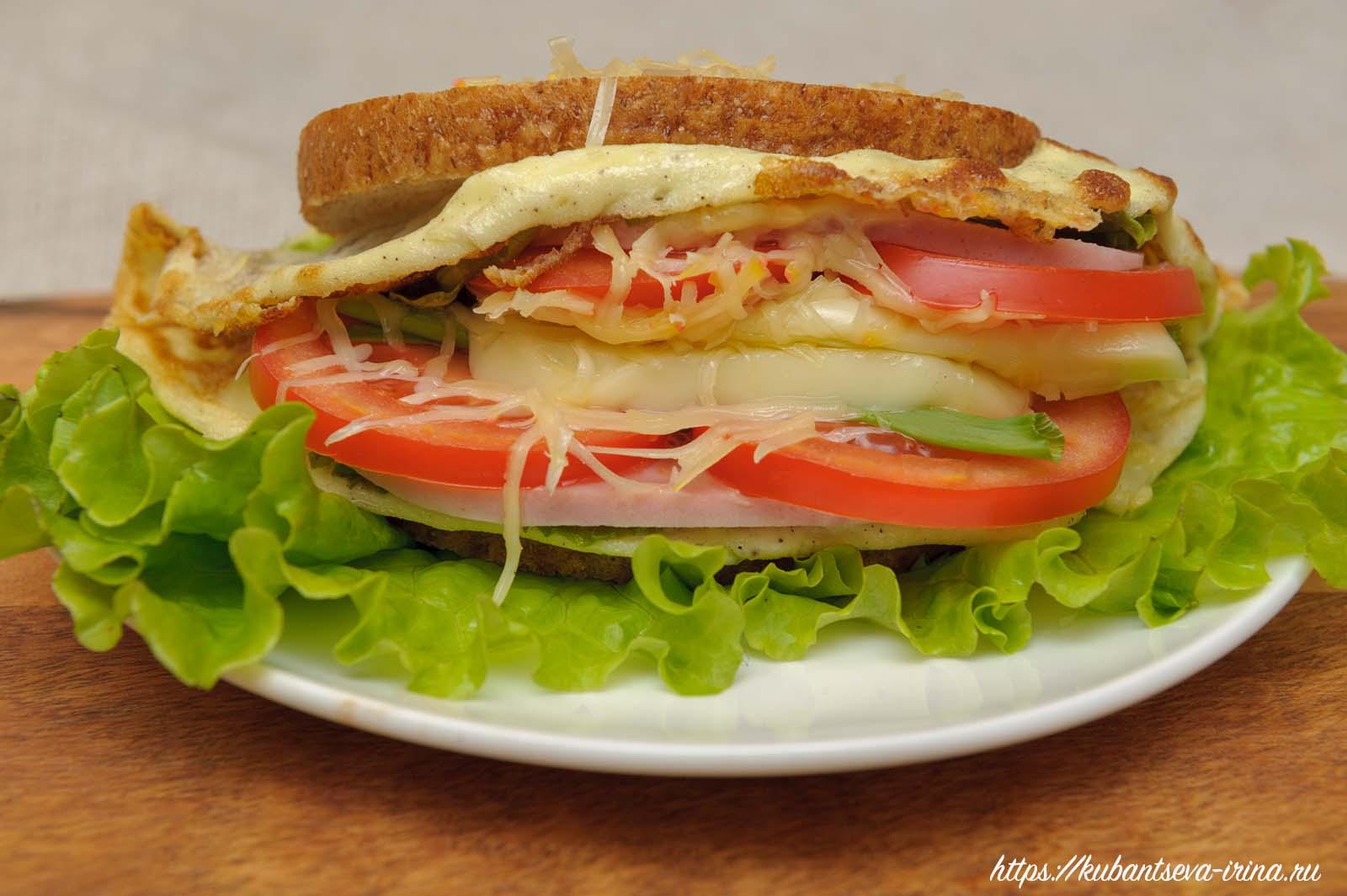 необычный бутерброд с омлетом фото
