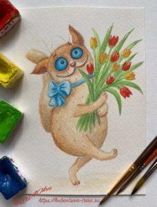 открытка акварельная с котиком