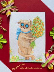 открытка акварельная кот с цветами старость в радость