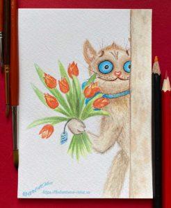 кот смешной открытка акварельная старость в радость