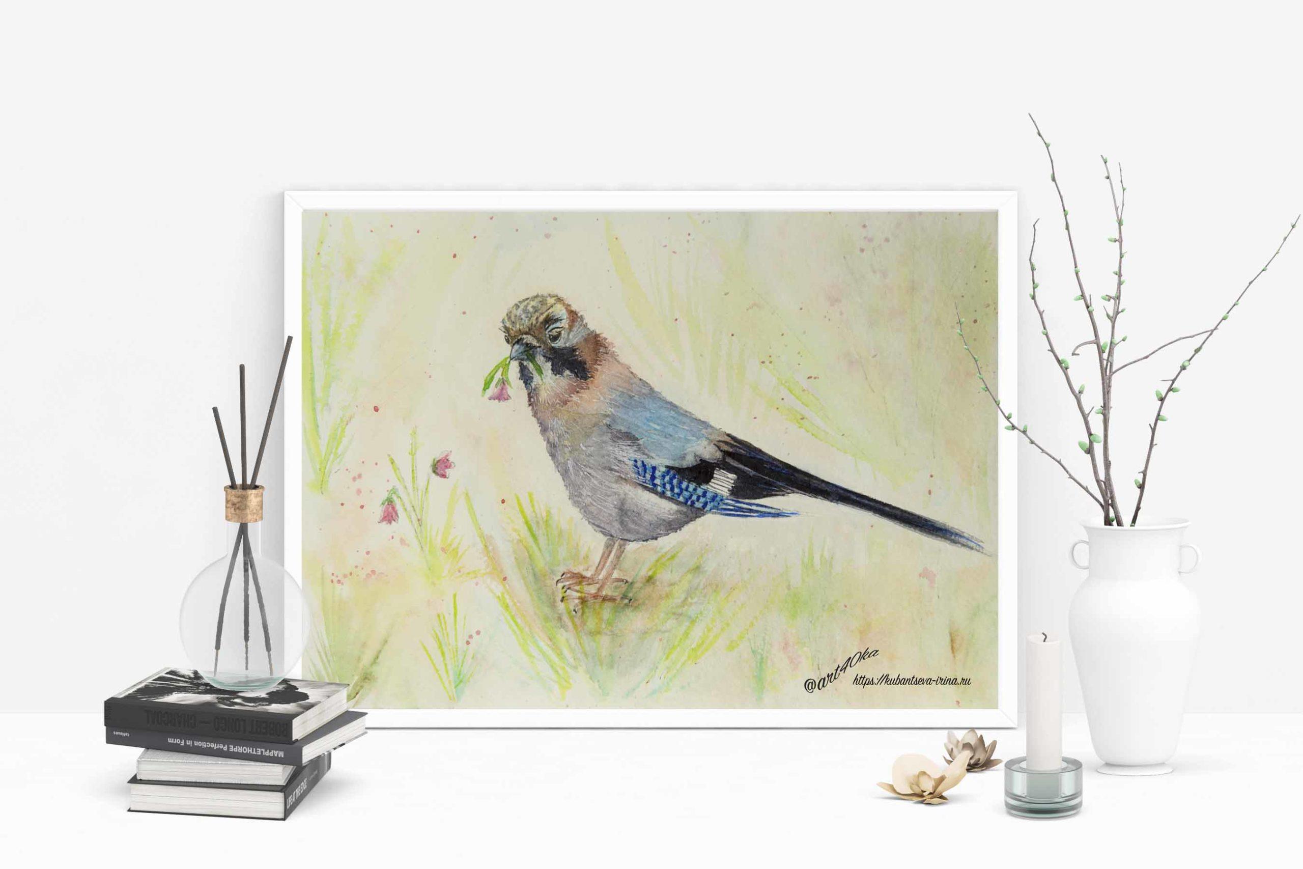 рисунок птицы акварелью