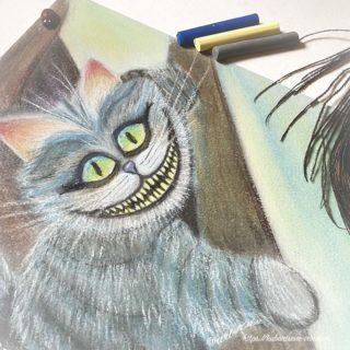 рисование сухой пастелью чеширский кот