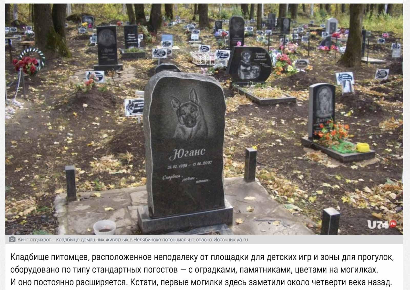 кладбище домашних животных в Челябнске