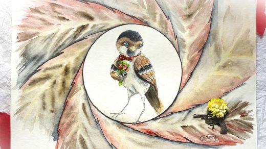 новый джеймс бонд птицы акварелью